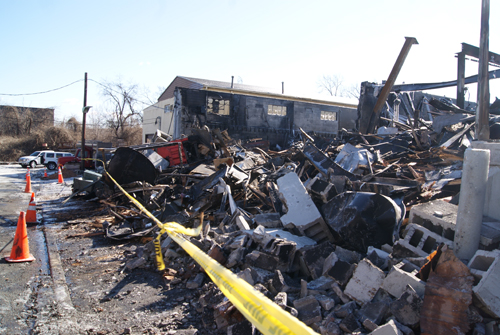 A January blaze turned a commercial building into a pile of rubble in North Arlington.