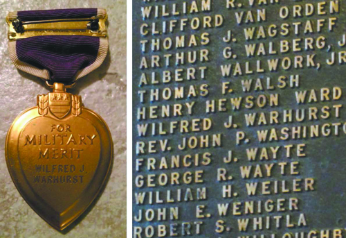Left photo courtesy Army Capt. Zachariah Fike; right photo by Ron Leir Pvt. Wilfred J. Warhurst's lost medal (l.) and the veteran's name (r.) listed on a list of hero veterans on a bronze table in the Kearny Town Hall lobby.