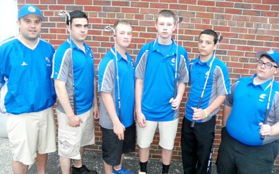 Photo by Jim Hague The North Arlington golf team prepared for their journey to the NJSIAA Group I state tournament Monday morning. From left are head coach Dan Farinola, Danny Goffredo, Tyler Sheffler, A.J. Ford, Darian Nogueras and Phil Rosalis- Goncalves.