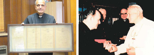 eft photo by Ron Leir, right photo courtesy Thomas Conlon LEFT: Rev. Joseph Girone, pastor of Holy Cross Church, displays charter for church. RIGHT: The Rev. James Glancy (l.), a former Holy Cross priest, visits with Pope John Paul II.
