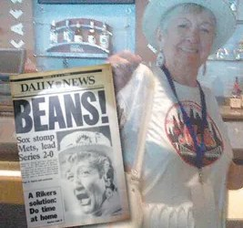 Bo Field shown during a visit to Citi Field in 2011. (Inset: An Oct. 20, 1986 cover of the N.Y. Daily News, featuring a photo of Bo, following the Met's Game 2 loss to the Boston Red Sox in the 1986 World Series.)