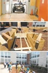Photos by Chris Brooks Maintenance personnel found a way to get Gator vehicle (for loading and transporting dirt and macadam) through a school hallway (top) to the Lincoln School courtyard where planter boxes (center) were assembled and 4H students busied themselves in the rain garden (above).