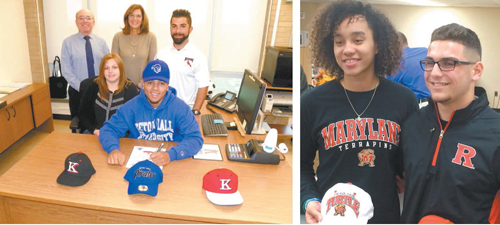 Left photo by Jim Hague, Right photo courtesy Joe Piro and Nutley athletics LEFT: Kearny ace pitcher Corey Sawyer (seated) signs his national letter of intent to attend Seton Hall next September. Seated with Sawyer is his mother Colleen Johnson. Standing, from l., are Kearny athletic director John Millar, interim principal Linda Rocco and head baseball coach Frank Bifulco. . RIGHT: Nutley standout athletes Blair Watson (l.) and Anthony Condito are all smiles, holding the hats of the schools of their choice, Watson to Maryland and Condito to Rutgers.
