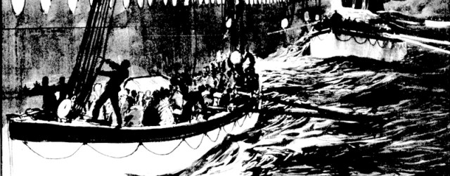 A painting by Charles Dixon, published in April 1912, showing Lifeboat 13 (Robert Hopkins' boat) having drifted below Lifeboat 15, which is being lowered into the sea. After yelling to the crew lowering the boat to stop its descent, Hopkins now is trying to cut the falls (ropes) with a knife to allow his boat to move away from Titanic's side and out of harm's way. (Photo courtesy of Titanic International Society Archives)