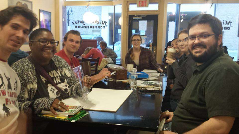 artists Making Art at michelangelo's Coffee House