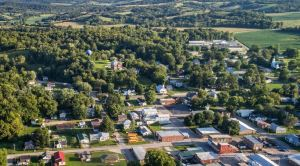 August 2017 Drone photo of town and school