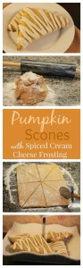 A delicious Pumpkin Scone smothered in a Spiced Cream Cheese Frosting! The perfect Fall treat!