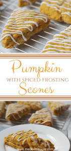Easy and Delicious Pumpkin Scones with a Spiced Cream Cheese Frosting - This recipe will become a favorite in your house and QUICK! So easy to make, and easier to devour. #PumpkinScones #CreamCheeseFrosting #PumpkinSpice