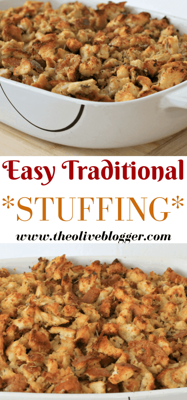 Easy Traditional Stuffing Recipe - A classic stuffing recipe you can make for any Holiday or get together!