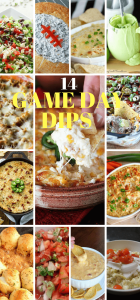 Game Day Dips - 14 of the BEST dips for you to make to celebrate the big game! They are easy and delicious. #GameDayDips #EasyDips #Tailgating