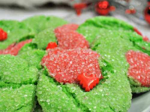 Red and Green Grinch Cookies on white platter