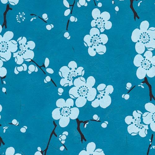 Lokta Paper Origami Pack - Blossom - WHITE ON BLUE