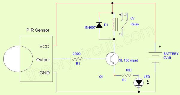 Simple PIR sensor circuit - theoryCIRCUIT