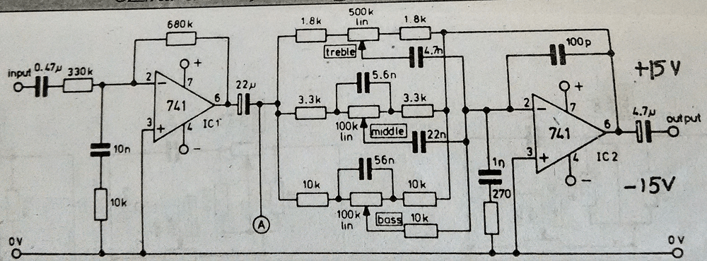 baxandall tone control using two transistors