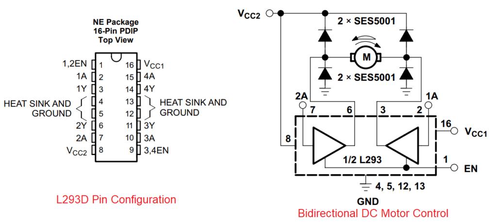 dc motor driver using l293d electronicslab