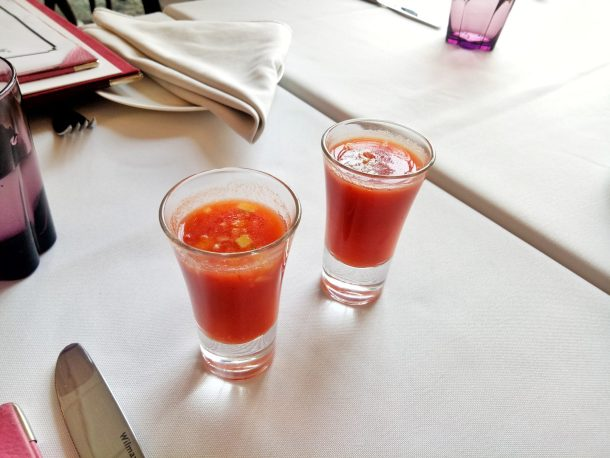 Well, the chilled tomato soup shot can befittingly be classified as an amuse-bouche cause it is an absolute palate refresher. - at Artusi Ristorante, Gurgaon