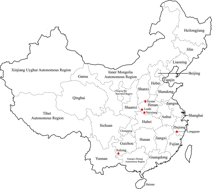 Locations where Bat Samples were obtained - Extensive diversity of coronaviruses in bats from China