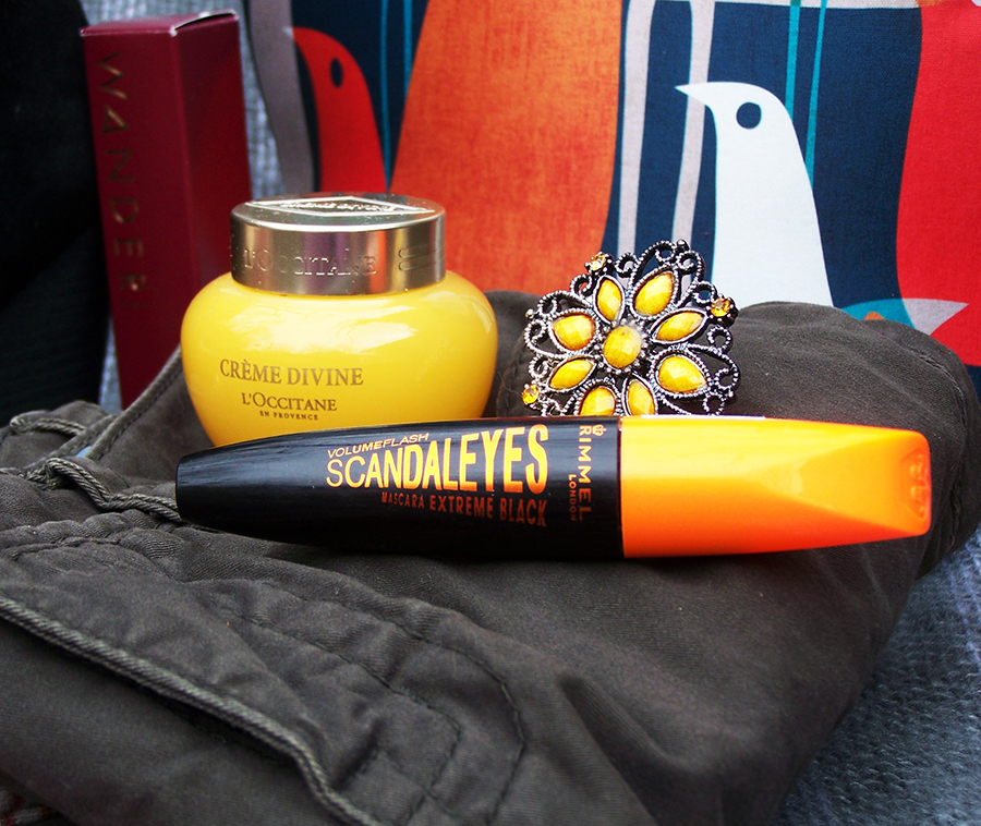 Creme Divine by L'Occitane en Provence will keep your skin creamy soft and smooth even on the harshest days. Volume Flash Scandaleyes mascara in Extreme Black by Rimmel London will give you insanely voluminous, fringe-y 70's lashes. The yellow flower ring brigs a pop of bright color.