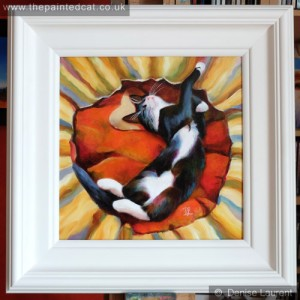 king of hearts black and white cat oil painting framed
