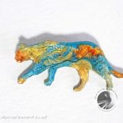 A Walking Multi Coloured Cat Brooch