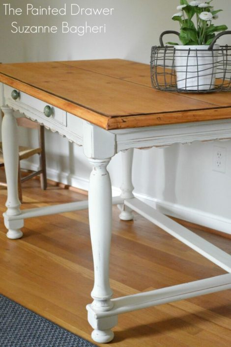 Pine French Country Desk www.thepainteddrawer.com