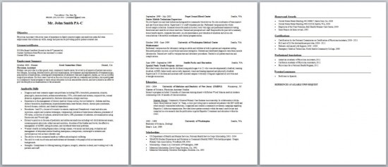 Physician Assistant Resume, Curriculum Vitae and Cover Letter - sample physician assistant resume