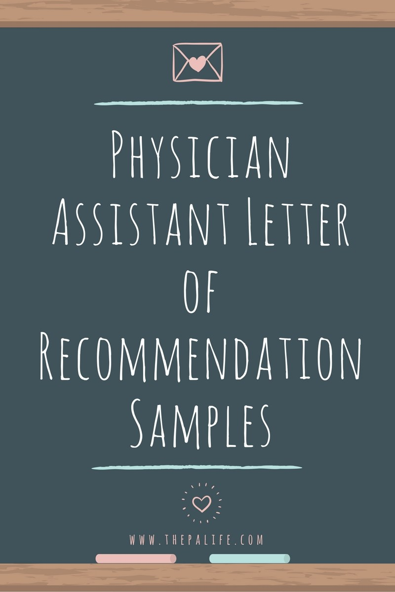 letter of recommendation for pa school template