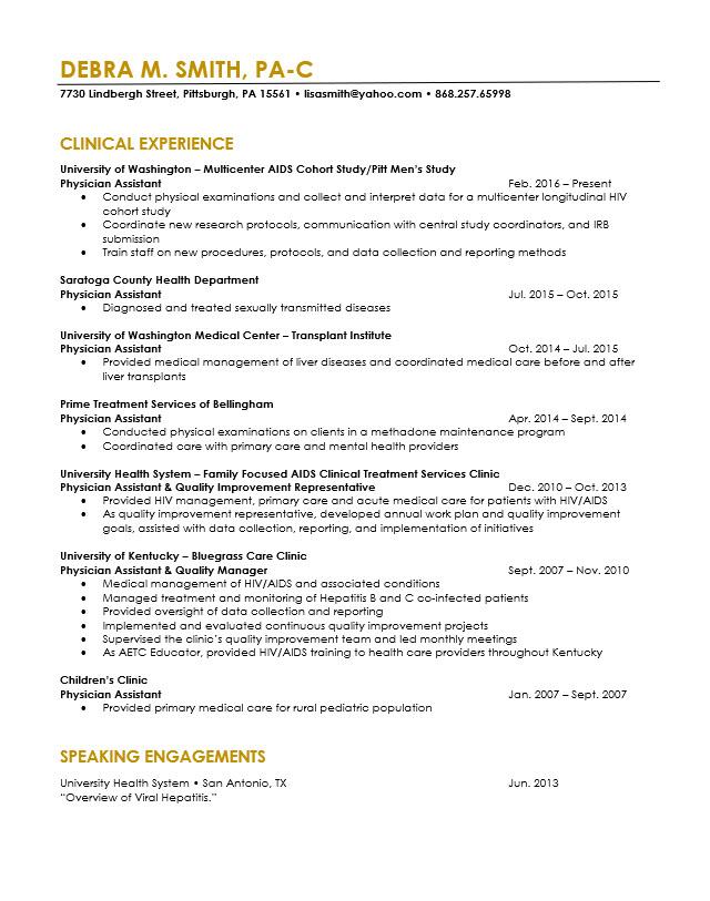 sample resume for pa school