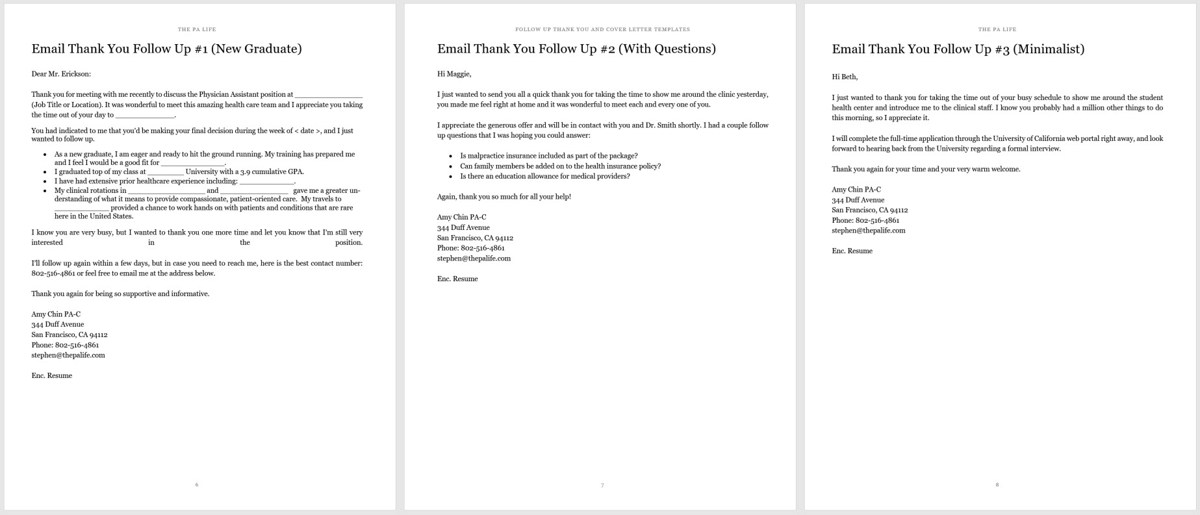 Physician Assistant Cover Letter and Thank You Follow Up Templates - Follow Up Letters