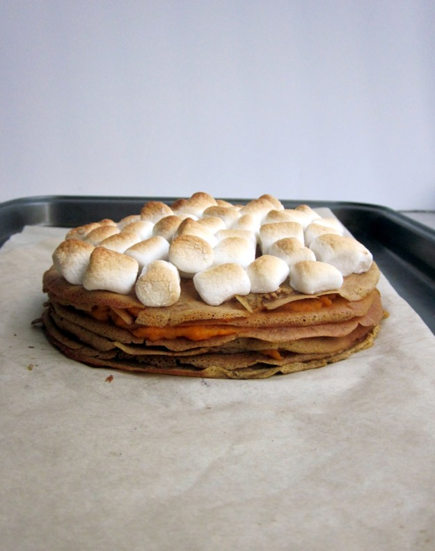 Sweet Potato Casserole Crepe Cake