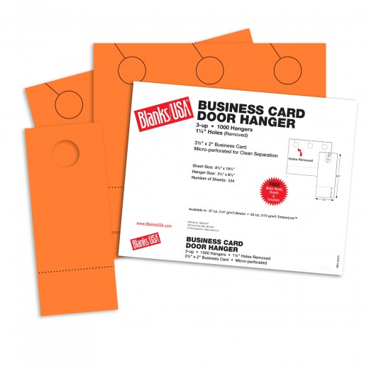 Hunters Orange Business Card Door Hangers - 10 1/2 x 8 1/2 in 65 lb