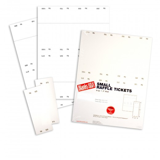 Small Raffle Ticket Paper 67 lb Bristol 85 x 11 White Package