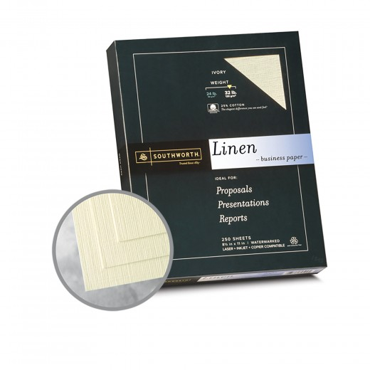 Ivory Paper - 8 1/2 x 11 in 32 lb Bond Linen 30 Recycled 25 Cotton