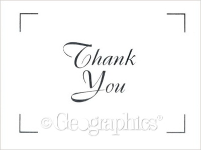 White Silver Foil Thank You Cards 425\