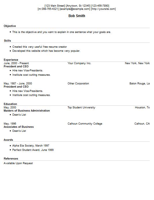 Free Printable Resume Maker. Cover Lettes