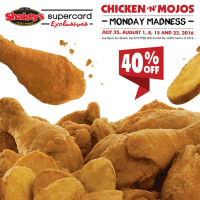 40% Off on Shakey's Chicken 'N' Mojos with Monday Madness