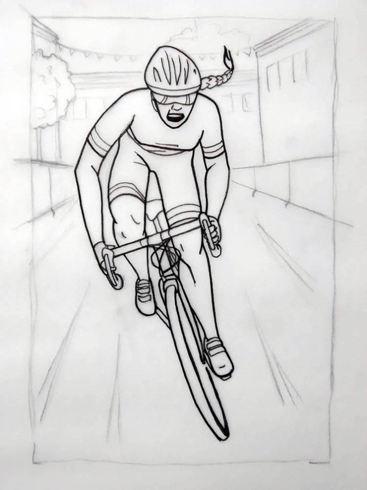 Attack the Pack: A Pro Bike Race in Your Jersey Pocket Created by Ben Broomfield and Ben Nickolls Preliminary sketch of future artwork depicting a rider, Artwork by Adrienne Hawkes www.attackthepack.com