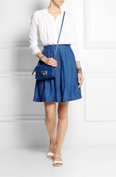 chinti and parker denim midi skirt