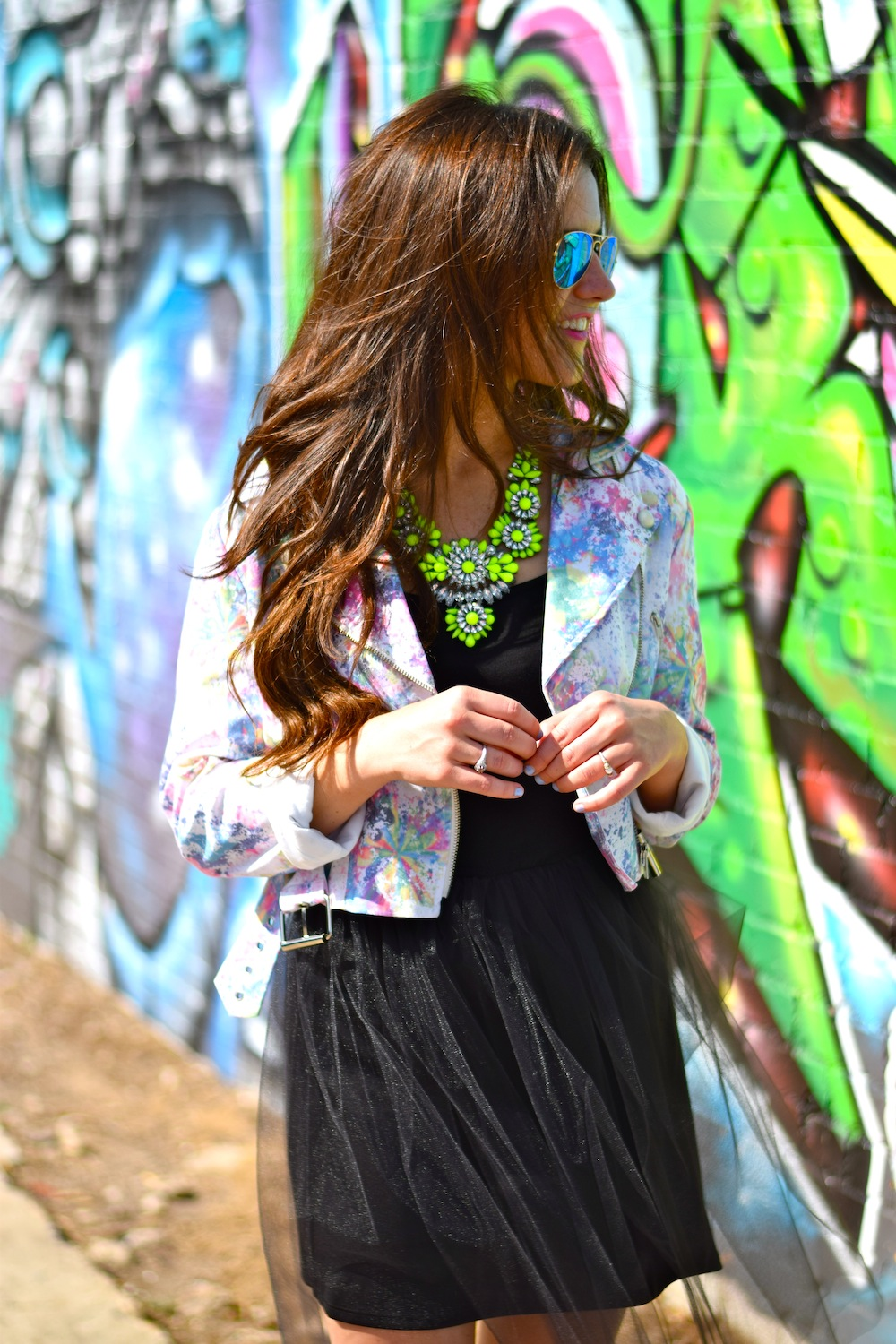 colorful moto jacket