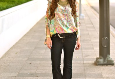 flared jeans and floral top
