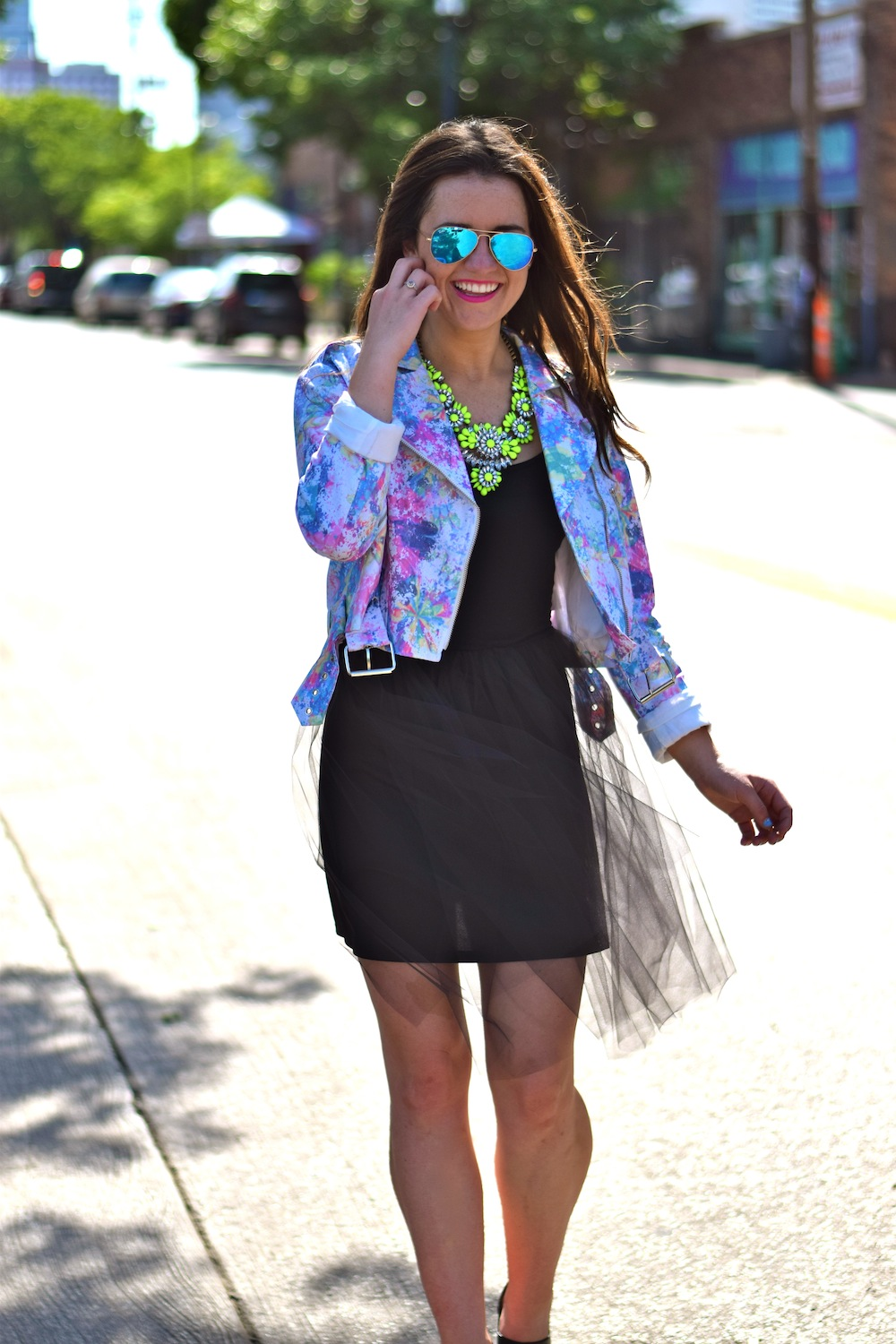 neon jacket tulle skirt