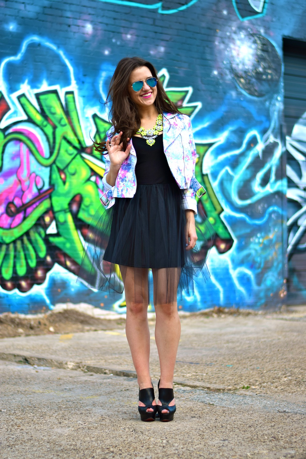 tulle skirt neon jacket
