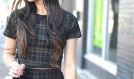 plaid professional pencil skirt crop top combo