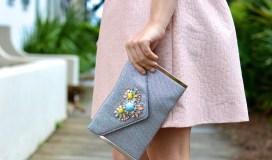 silver pastel embellished clutch