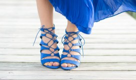 lace up blue heels
