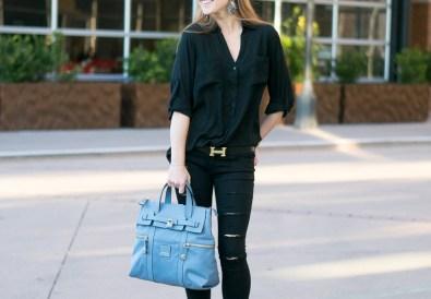 Black outfit henri bendel backpack jetsetter blue