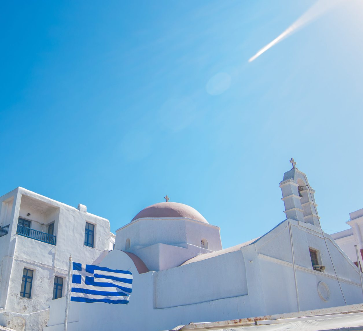 Mykonos Church Flag Travel Guide