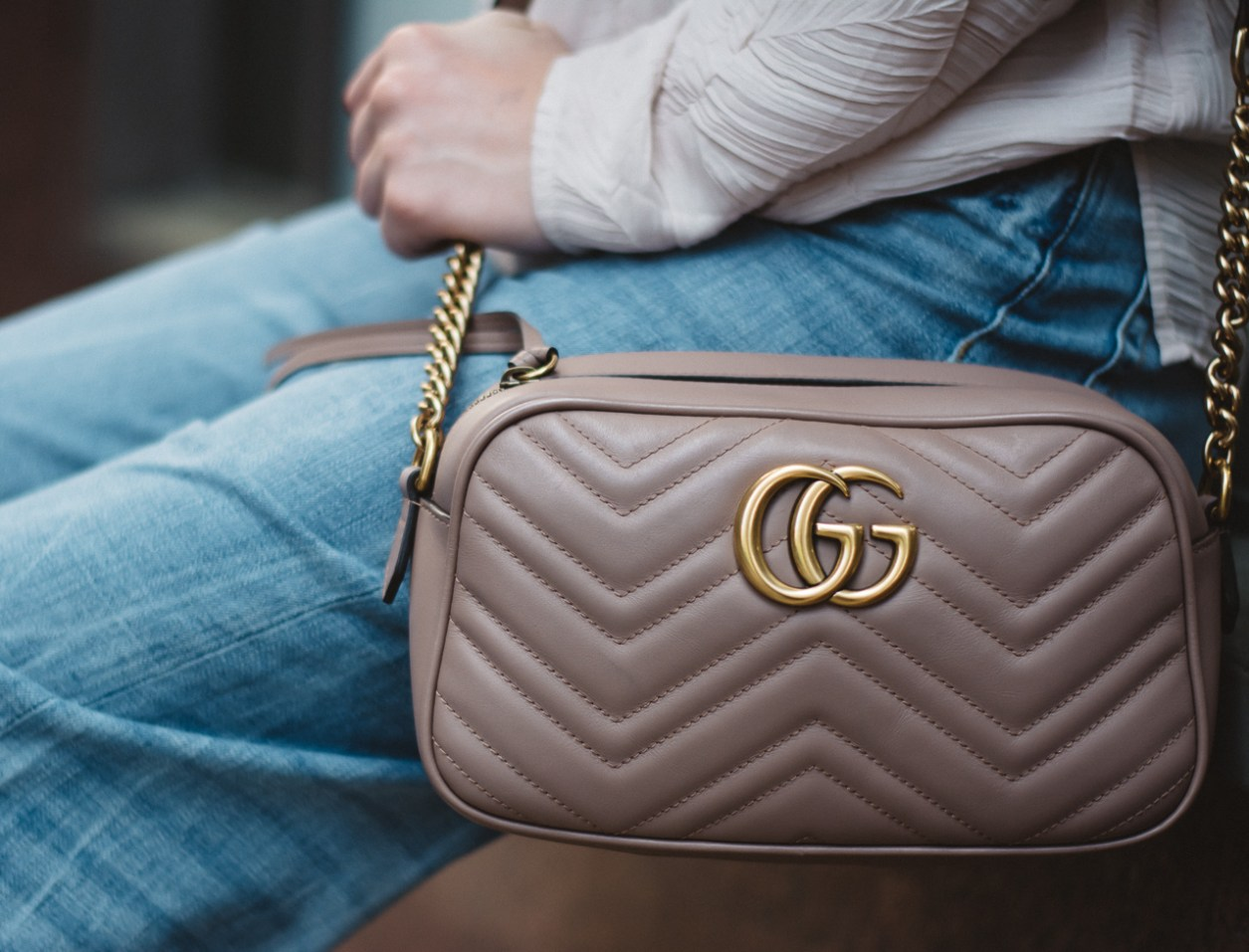 Gucci GG Marmont matelassé shoulder bag nude leather