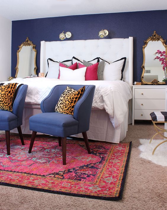 Pink Rug Bedroom Leopard Pillows