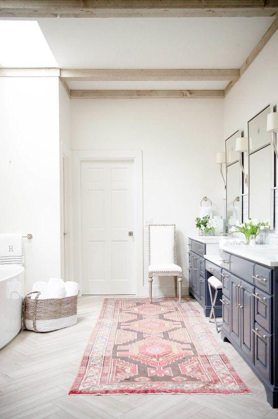 Pink Oriental Bathroom Rug
